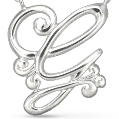 Fashion Necklaces: G Belk Silverworks Fine Silver Plated Monogram Initial Pendant Necklace