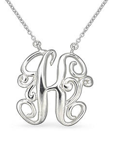 Belk Silverworks Fine Silver Plated Monogram Initial Pendant Necklace