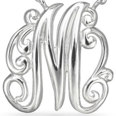 Fashion Necklaces: M Belk Silverworks PD FSP 17.5 MONOGR K
