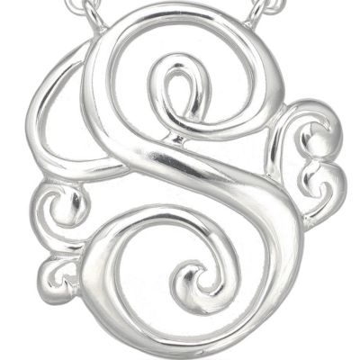 Fashion Necklaces: S Belk Silverworks PD FSP 17.5 MONOGR K