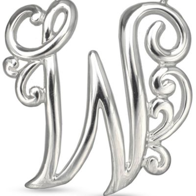 Fashion Necklaces: W Belk Silverworks Fine Silver Plated Monogram Initial Pendant Necklace