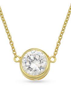 Belk Silverworks 24K Gold Over Fine Silver Plated Bezel Necklace
