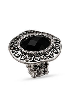 Jules B Silver-Tone Black Oval Stretch Rings