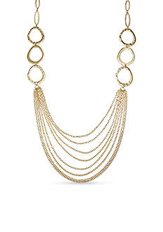 Jules B Gold-Tone Hammered Link Dramatic Chain Necklace