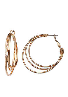 Jules B Gold-Tone Triple Twist Hoop Earrings