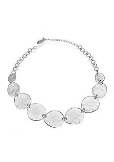 Jules B Silver-Tone Hammered Disc Necklace