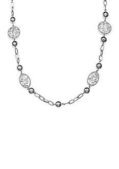 Jules B Silver-Tone Screen Scroll Necklace
