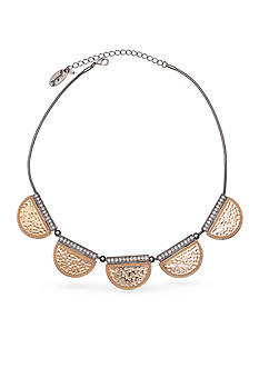 Jules B Two-Tone No Place Like Chrome Disc Collar Necklace