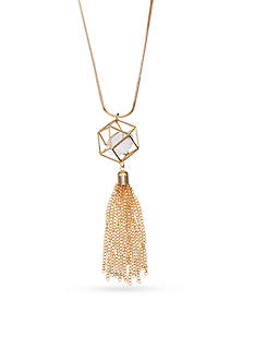 Jules B Gold-Tone Crystal Cage Pendant Necklace