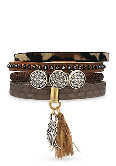 Jules B Two-Tone Haute Hippie Chic Feather Leather Bracelet