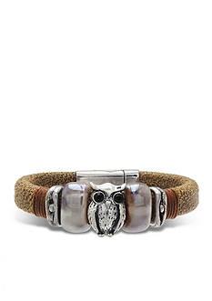 Jules B Silver-Tone Haute Hippie Chic Owl Icon Leather Bracelet