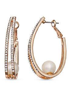 Jules B Gold-Tone Pearls Night Out Crystal Oval Hoop Earrings