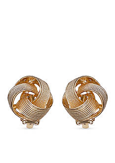 Jules B Gold-Tone Pearls Night Out Knot Button Clip Earrings