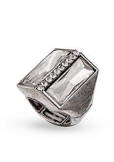 Jules B Silver-Tone Crystal Bar Stretch Ring