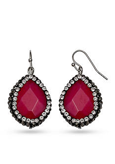 Jules B Silver-Tone In Living Color Fuchsia Drop Earrings