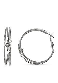Jules B Silver-Tone Statue of Liberty Diamond Cut Hoop Earrings