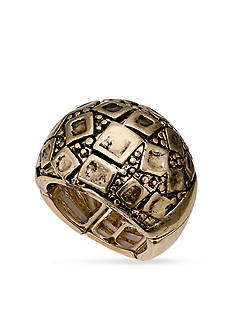 Jules B Gold-Tone Geometric Dome Stretch Band Ring