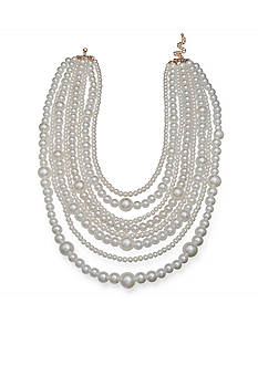 Jules B Gold-Tone Faux Pearl Multistrand Collar Necklace