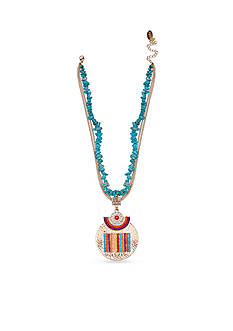 Jules B Silver-Tone Turquoise Pendant Necklace