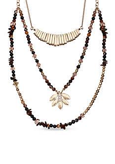 Jules B Gold-Tone Goldirocks Triple Row Beaded Necklace
