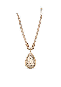 Jules B Gold-Tone Sun Kissed Hammered Teardrop Pendant Necklace