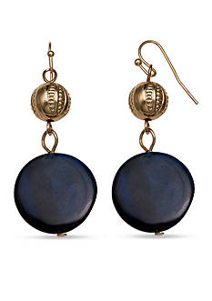 Jules B Gold-Tone In Living Color Blue Shell Drop Earrings