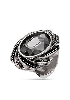 Jules B Silver-Tone Black Diamond Stretch Band Ring