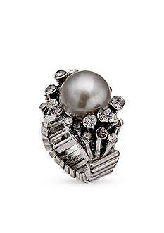 Jules B Silver-Tone Gray Pearl Stretch Band Ring