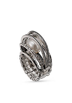 Jules B Silver-Tone Caged Pearl Stretch Ring