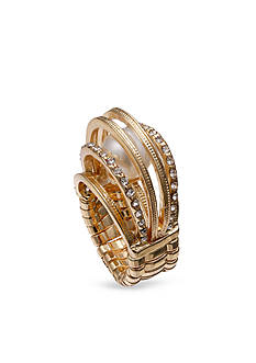 Jules B Gold-Tone Caged Pearl Stretch Rings