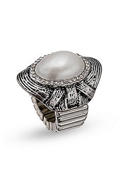 Jules B Silver-Tone Pearl Etched Stretch Band Ring
