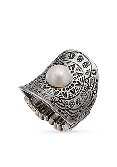 Jules B Silver-Tone Concave Deco Pearl Stretch Band Ring