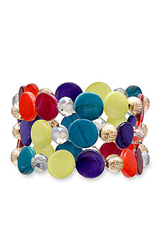 Jules B Gold-Tone Kaleidoscope Shell Stretch Bracelet Set