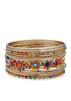 Jules B Gold-Tone Kaleidoscope Bangle Bracelet Set