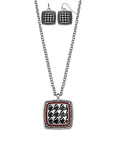 Jules B Silver-Tone Football Spirit Black and Crimson Pendant Necklace and Earring Set