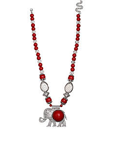 Jules B Silver-Tone Football Spirit Red Pendant Necklace