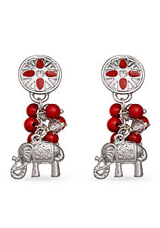 Jules B Silver-Tone Football Spirit Red Cluster Drop Earrings