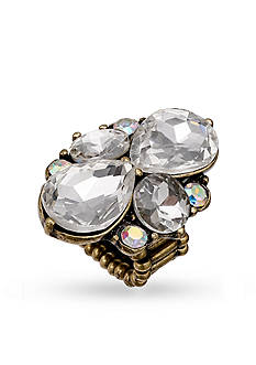 Jules B Gold-Tone Crystal Floral Stretch Band Ring