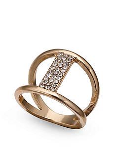 Jules B Gold-Tone Crystal Bar Ring