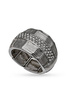 Jules B Silver-Tone Crystals Stretch Ring