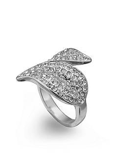 Jules B Silver-Tone Crystal Wrap Leaf Ring