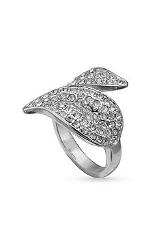 Jules B Silver-Tone Crystal Wrap Leaf Ring