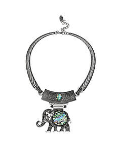 Jules B Silver-Tone Iridescence Elephant Statement Necklace