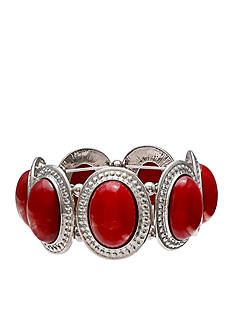 Jules B Silver-Tone Little Red Wagon Red Oval Stretch Bracelet