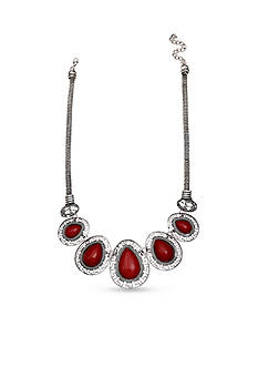 Jules B Silver-Tone Little Red Wagon Oval Collar Necklace