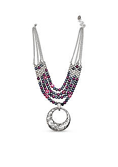 Jules B Silver-Tone Purple Rain Multistrand Pendant Necklace