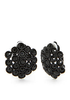 Kim Rogers Jet-Tone Textured Beaded Button Clip Earrings
