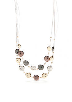 Kim Rogers Tri-Tone Metal Fab Illusion Necklace