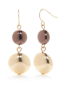 Kim Rogers Two-Tone Metal Fab Double Drop Earrings