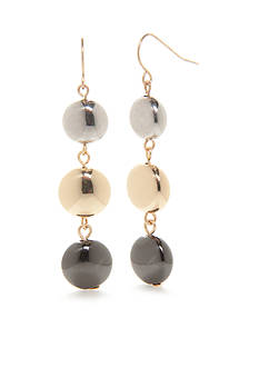Kim Rogers Tri-Tone Metal Fab Triple Drop Earrings